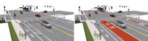 One of several potential street designs proposed by PBOT for 122nd Avenue. COURTESY PBOT