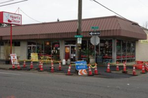 Hearts Décor owner Robin Martell is feeling the pain of road work in front of her shop. The Halsey-Weidler Streetscape Project is expected to continue through May 2019. STAFF/2018