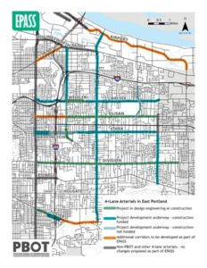 What happens to traffic patterns when changes are made to multiple streets in the same area? Is PBOT sure it's using the most effective tools to reduce crashes while making sure people can get to their jobs, schools and other destinations on time, whether by walking, biking, taking transit or driving? East Portland Arterial Streets Strategy, or EPASS, seeks to answer these questions. COURTESY PORTLAND BUREAU OF TRANSPORTATION