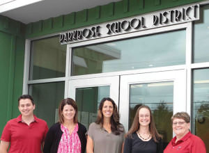 Sam Maranto, from left, is the new Prescott Elementary principal. Annette Sweeney transitioned from assistant principal to principal at Parkrose Middle School. Molly Ouche is now the principal at Parkrose High. Erin Voelker is the new assistant principal at PMS. Sharie Lewis has taken on the role of director of business services and operations, and Tom Dufresne (not pictured) is the new district supervisor of facilities and maintenance. COURTESY PARKROSE SCHOOL DISTRICT