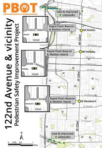 Portland Bureau of Transportation map shows planned 122nd Avenue pedestrian safety improvements in yellow, <a href=