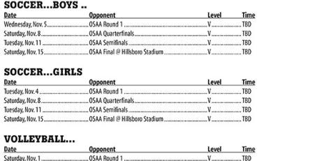 November 2014 – PHS Athletic Schedule