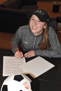 Parkrose High School's Jada Krening signs her letter of intent to play soccer at Oregon State University in exchange for a four-year scholarship. In addition to setting many school records as a four-year starter, <a href=