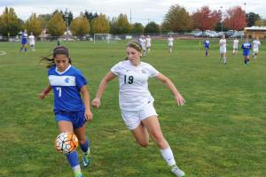 Krening, right, led Parkrose to the playoffs for the first time in 2014 when she was a junior. She keeps her eye on her opponent and the ball here in a game against Hillsboro in 2015. STAFF/2016