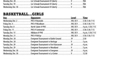 December 2015 – Parkrose High School Athletic Schedule