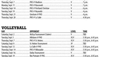 September 2017 – Parkrose High School Athletic Schedule