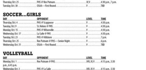 October 2018 – Parkrose High School Athletic Schedule