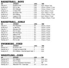 January 2019 – Parkrose High School Athletic Schedule