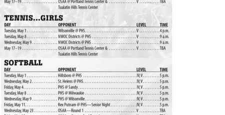 May 2018 – Parkrose High School APRIL 2018 Athletic Schedule