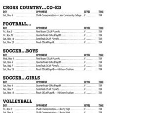 November 2017 – Parkrose High School Athletic Schedule