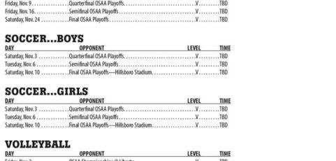 November 2018 – PHS Athletic Schedule