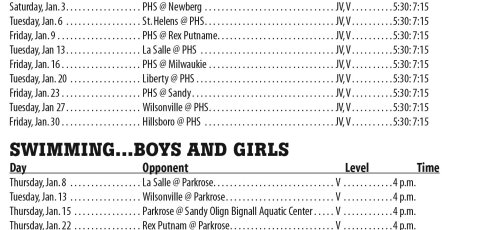 January 2015 – Parkrose High School Athletic Schedule
