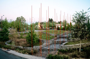 "Windscape, the ""artistic landscape"" sculpture with its attention-attracting poles was built in the stormwater retention facility, or jug handle at Northeast 102nd Avenue and Weidler Street among native plants and trees in 2008. The entire project cost $100,000.COURTESY GREENWORKS"