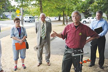 Rep. Earl Blumenauer was among many government officials at the dedication of a flashing, bi-lingual crosswalk beacon on Southeast Stark Street near Floyd Light Middle School last month.